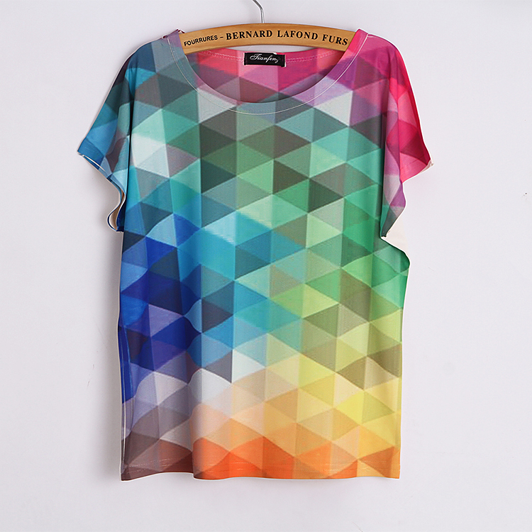 New-2015-summer-fashion-loose-plus-size-thin-style-3D-printing-Women-T-shirt-Landscape-tower