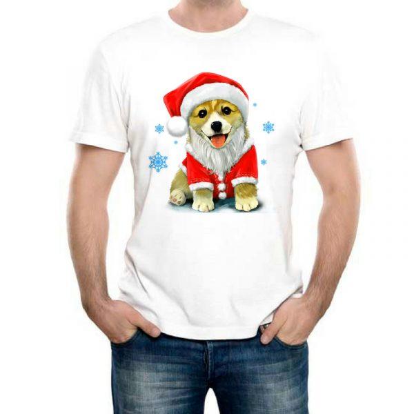 Изображение Мужская футболка Собака в новогодней шапке