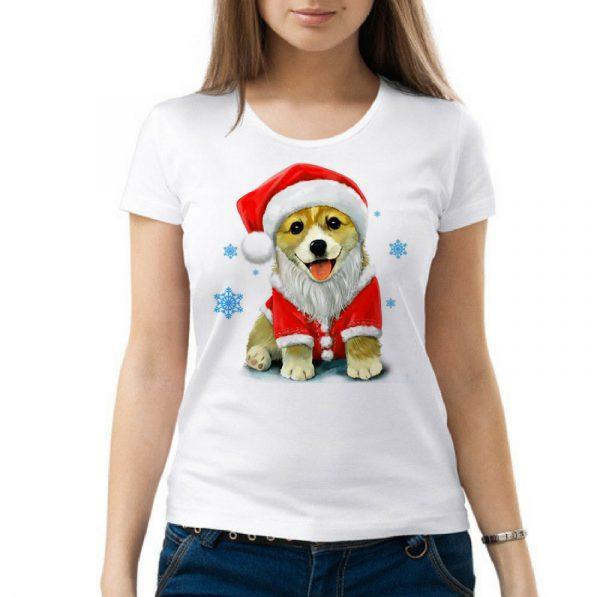 Изображение Женская футболка Собака в новогодней шапке