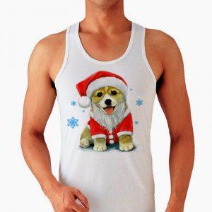 Изображение Мужская майка Собака в новогодней шапке