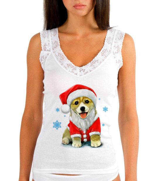 Изображение Женская майка Собака в новогодней шапке