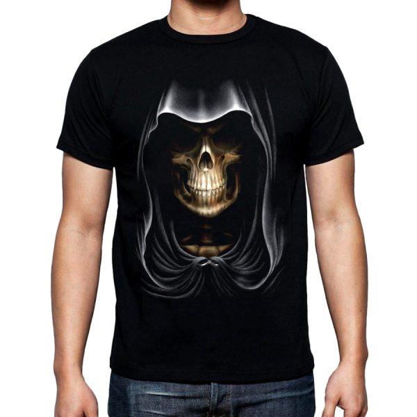 Изображение Мужская футболка с черепом в капюшоне