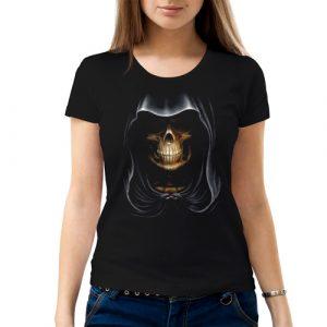 Изображение Женская футболка с черепом в капюшоне