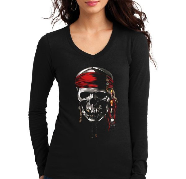 Изображение Женский лонгслив с черепом пирата