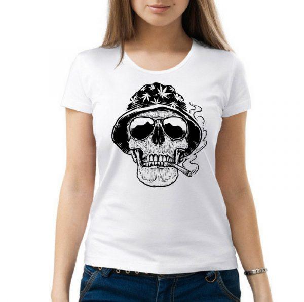 Изображение Женская футболка с черепом растамана