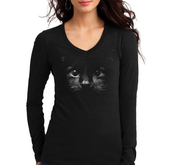Изображение Женский лонгслив с черным котом