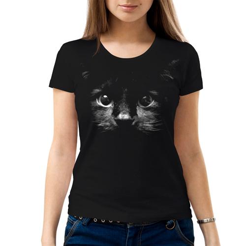 Изображение Женская футболка с черным котом