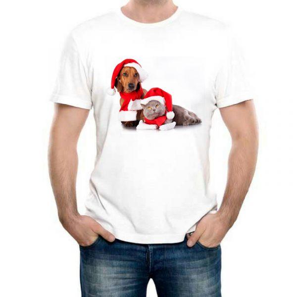 Изображение Мужская футболка Новогодние кот и собака
