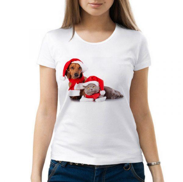 Изображение Женская футболка Новогодние кот и собака