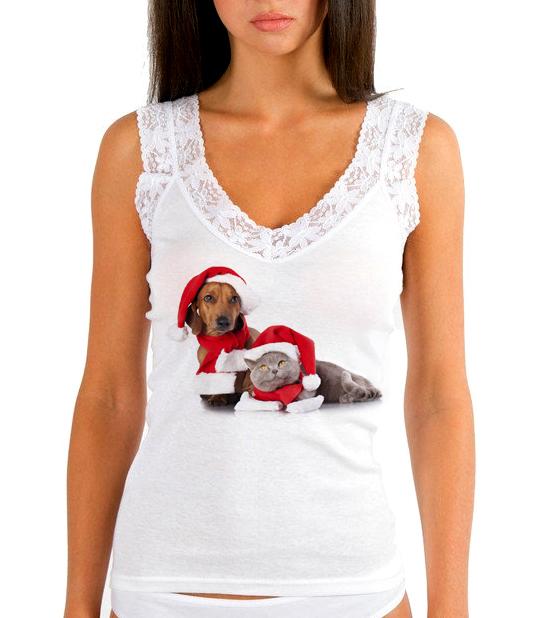 Изображение Женская майка Новогодние кот и собака