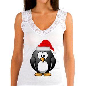 Изображение Женская майка Новогодний Пингвин
