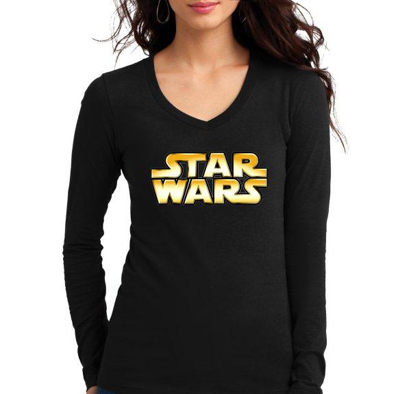 Изображение Женский лонгслив черный Star Wars Лого
