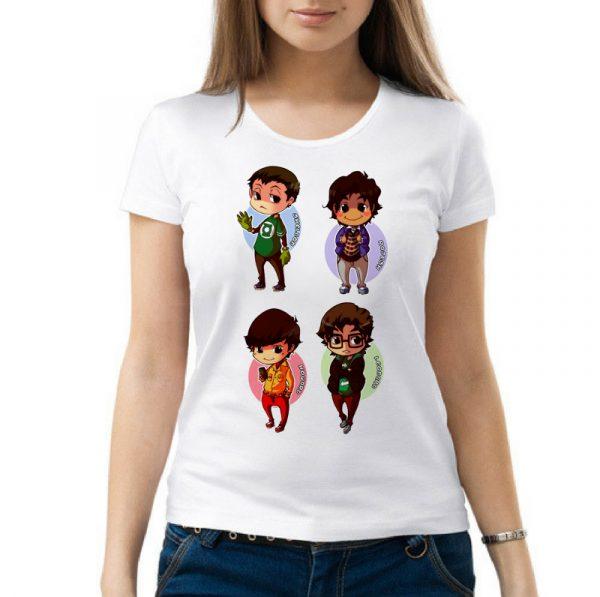 Изображение Женская футболка Теория Большого Взрыва - мультяшные герои