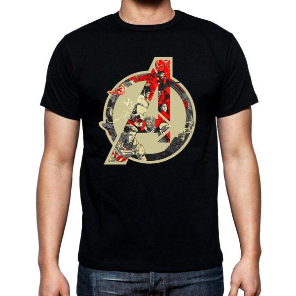 Изображение Мужская черная футболка Мстители Лого