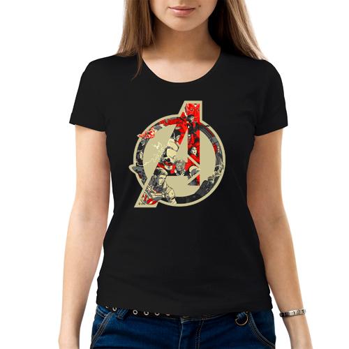 Изображение Женская черная футболка Мстители Лого