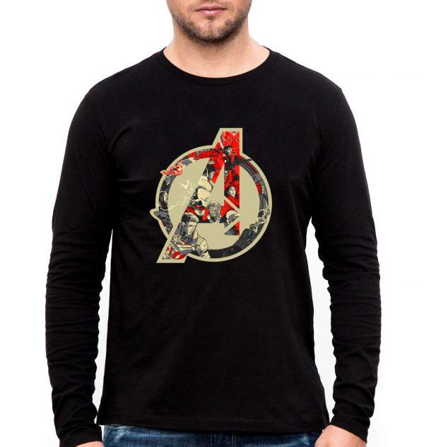 Изображение Мужской черный лонгслив Мстители Лого