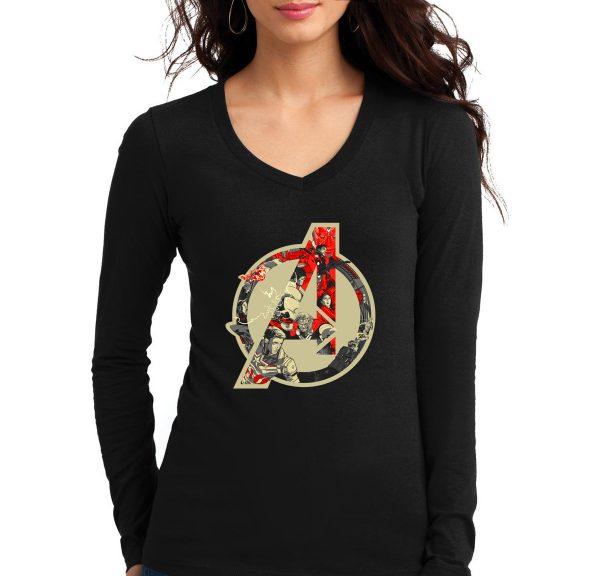 Изображение Женский черный лонгслив Мстители Лого