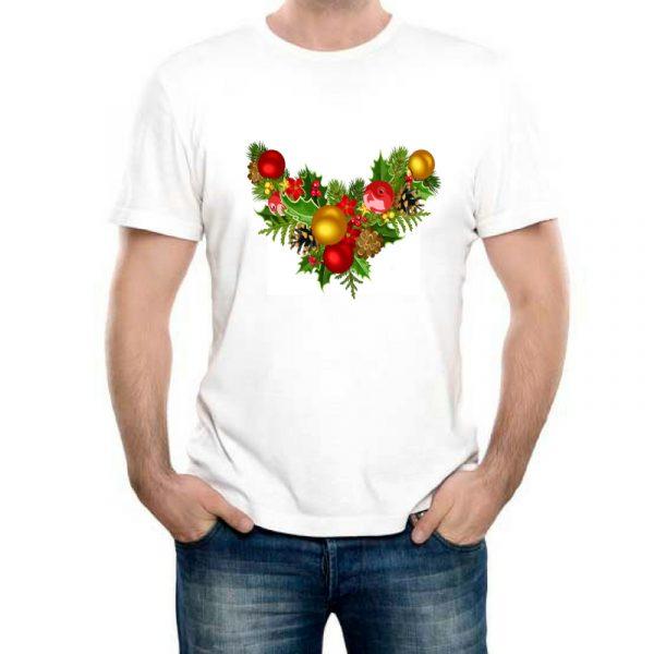 Изображение Мужская белая футболка Рождественский Венок