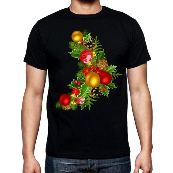 Изображение Мужская черная футболка Рождественский Венок