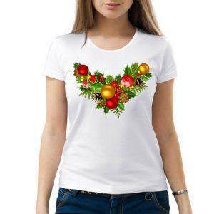 Изображение Женская белая футболка Рождественский Венок