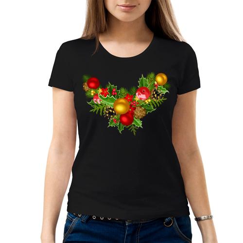 Изображение Женская черная футболка Рождественский Венок
