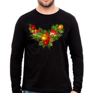Изображение Мужской черный лонгслив Рождественский Венок