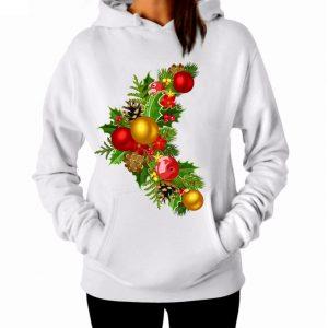 Изображение Женская белая толстовка Рождественский Венок