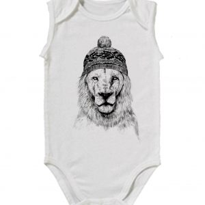 Изображение Лев в шапке детское боди белое