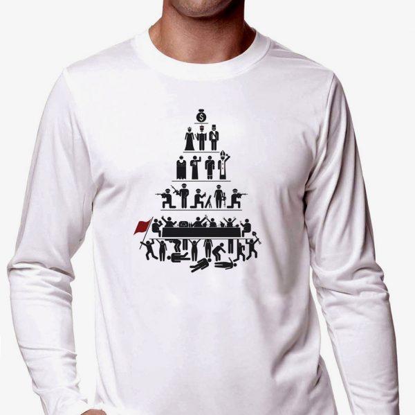 Изображение Лонгслив мужской белый Прикольный принт Люди