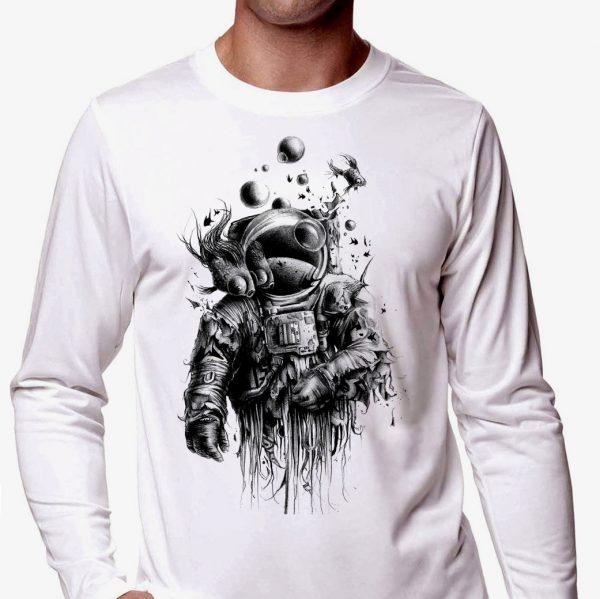 Изображение Лонгслив мужской белый Скафандр под водой Арт