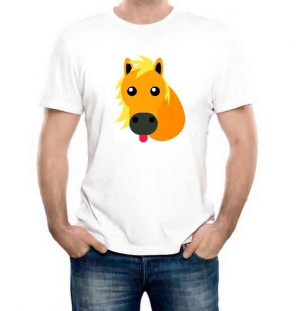 Изображение Мужская футболка белая Смайл Лошадка