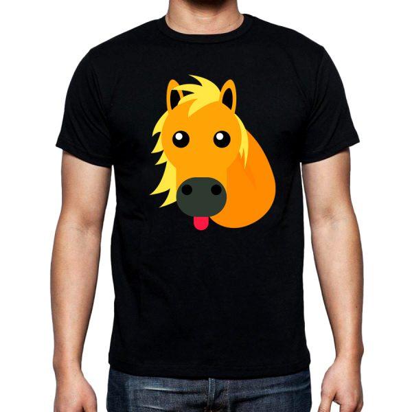 Изображение Мужская футболка черная Смайл Лошадка