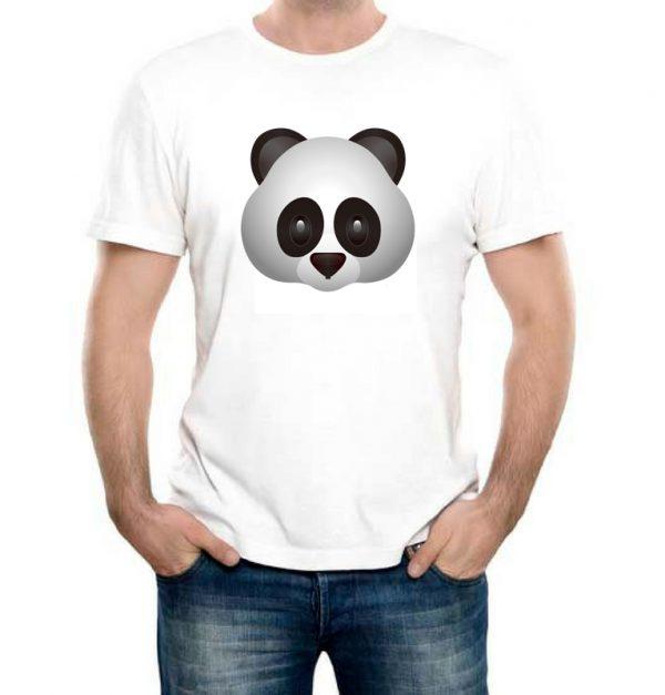 Изображение Мужская футболка белая Смайл серая Панда
