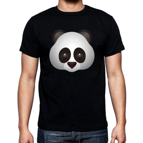 Изображение Мужская футболка черная Смайл серая Панда