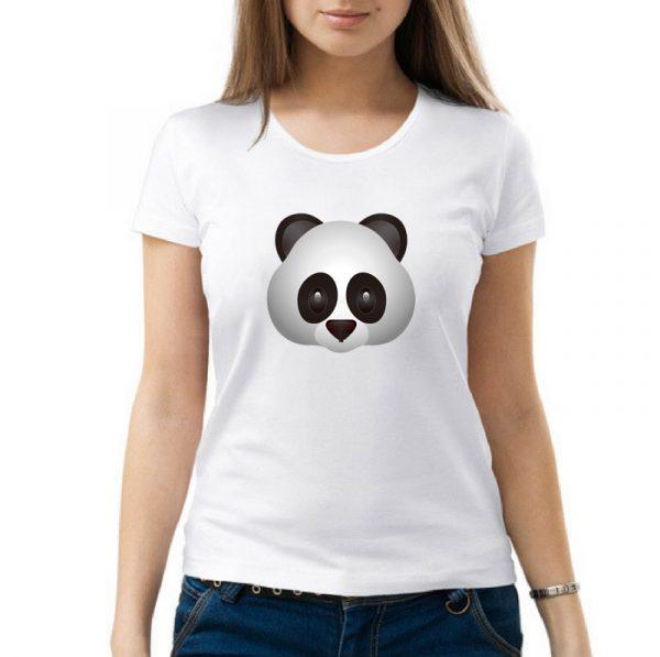 Изображение Женская футболка белая Смайл серая Панда