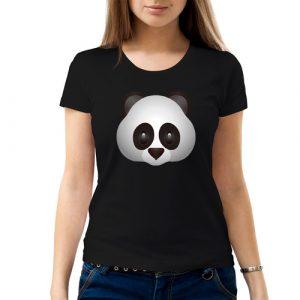 Изображение Женская футболка черная Смайл серая Панда