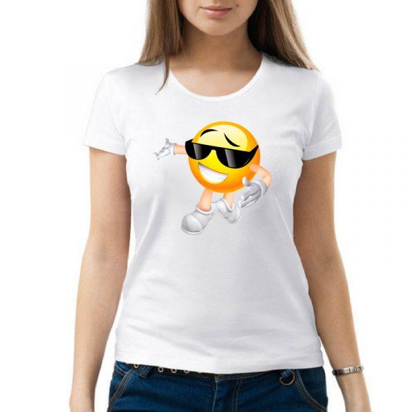 Изображение Женская футболка белая Смайл в очках
