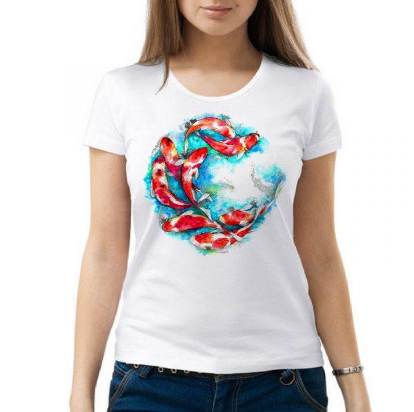 Изображение Женская футболка Цветные рыбки Арт