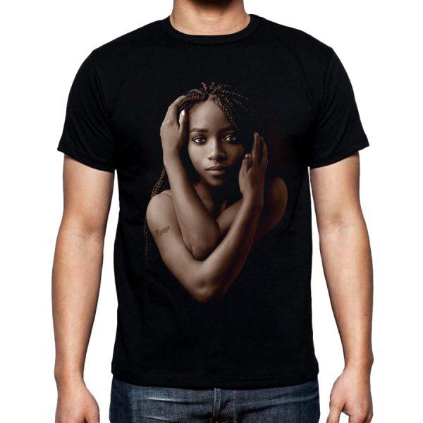 Изображение Футболка мужская черная Темнокожая девушка