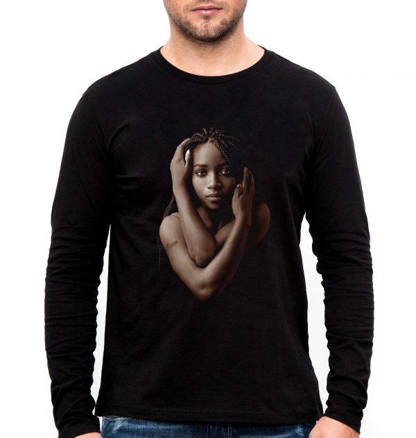 Изображение Лонгслив мужской черный Темнокожая девушка