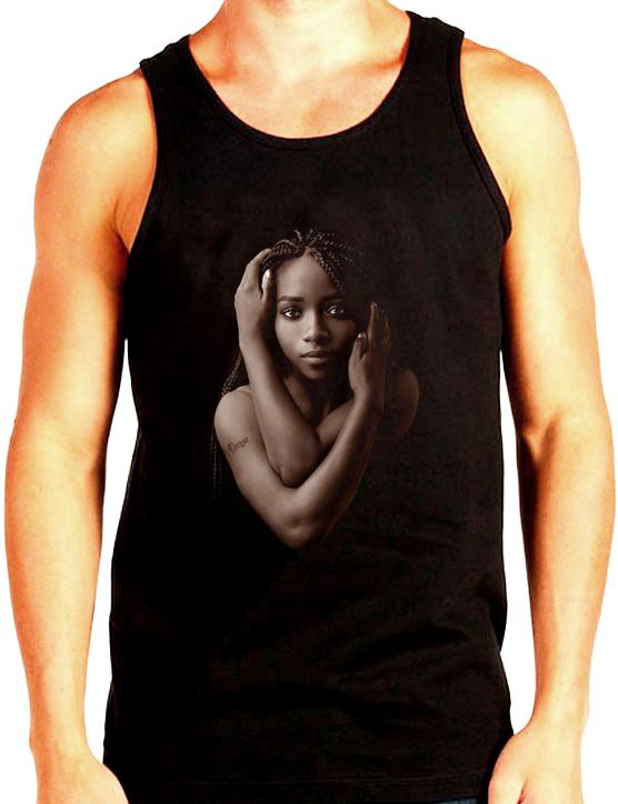 Изображение Майка мужская черная Темнокожая девушка