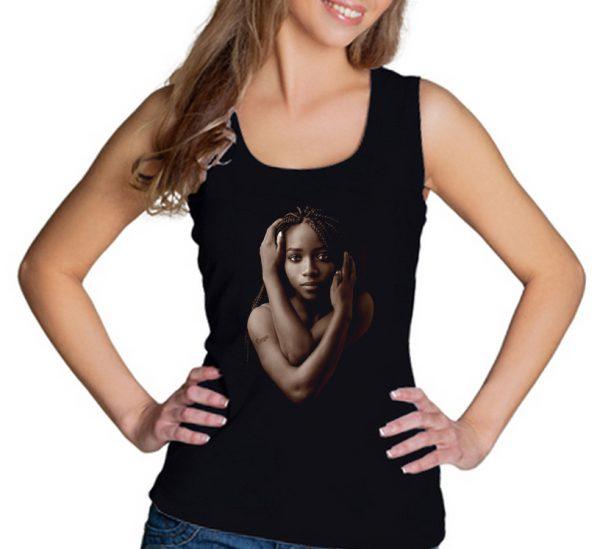 Изображение Майка женская черная Темнокожая девушка