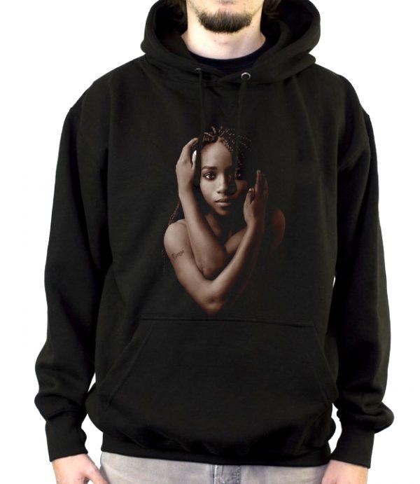 Изображение Толстовка мужская черная Темнокожая девушка