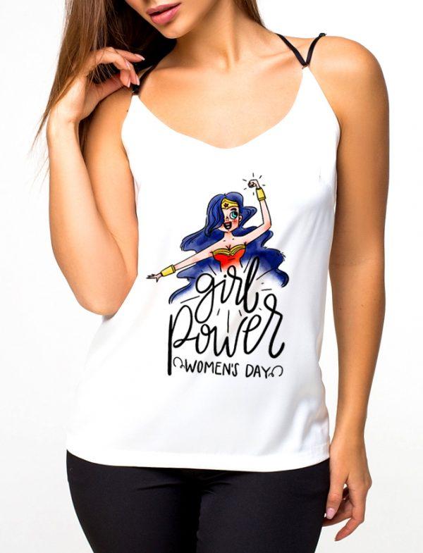 Изображение Майка женская белая Girl Power 8 Марта