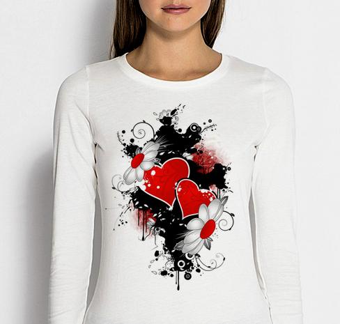 Изображение Лонгслив женский белый Прикольный принт на 8 Марта Сердце