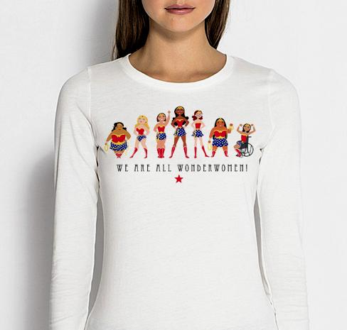 Изображение Лонгслив женский белый We are all Wonderwoman 8 Марта