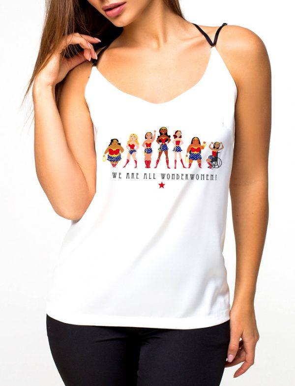 Изображение Майка женская белая We are all Wonderwoman 8 Марта