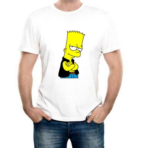 Изображение Футболка мужская белая Барт Симпсон в жилетке