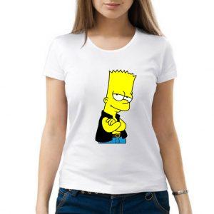 Изображение Футболка женская белая Барт Симпсон в жилетке