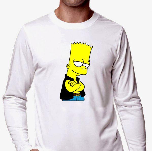 Изображение Лонгслив мужской белый Барт Симпсон в жилетке